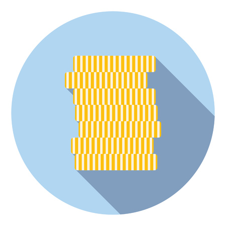 style wealth: Gold Coins Stack Wealth Symbol Flat Style Design Illustration