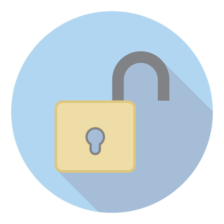 lock symbol: Open Lock Protection Symbol Flat Style Icon