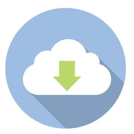 cloud service: Download Data Cloud Service Flat Style Design