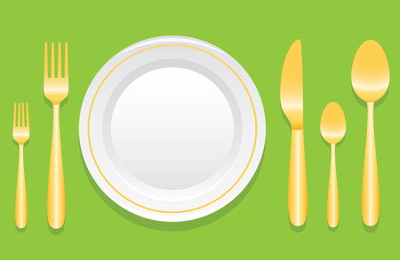 formal place setting: Plate And Golden Cutlery Layout With Laurel Wreath Over Illustration