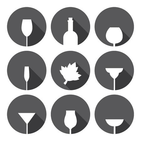 alcohol series: Alcohol Glasses Icons Set Monochrome Series Flat Design