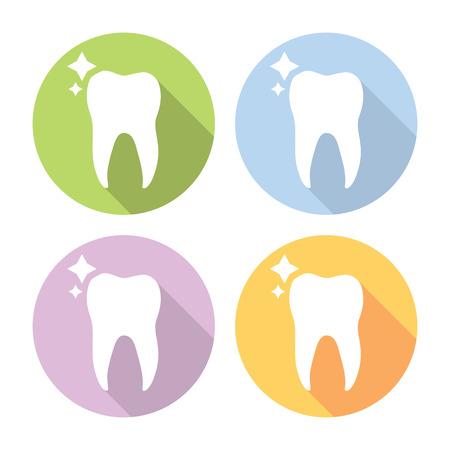 Molar Tooth Dental Flat Style Design Icons Set Illustration