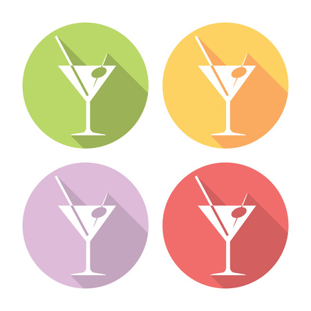 coctail: Martini Coctail Party Glass Flat Style Design Icons Set Illustration