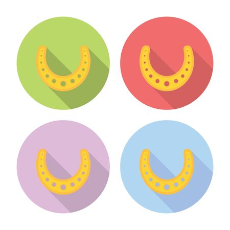 talismán: Herradura afortunada Talisman plana estilo de diseño de conjunto de iconos Vectores