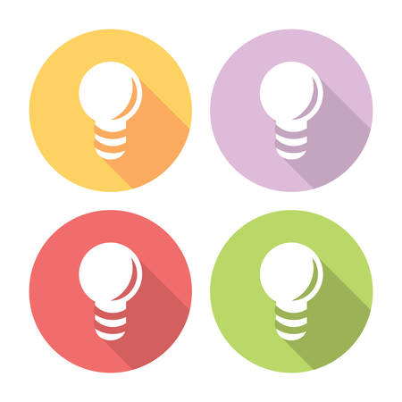 electric bulb: Electric Light Bulb Flat Style Design Icons Set