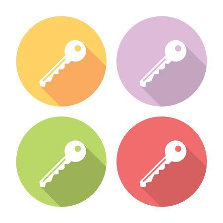 Door Lock Key Flat Style Icons Set design