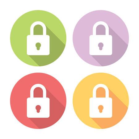 lock symbol: Lock Protection Symbol Flat Style Design Icons Set