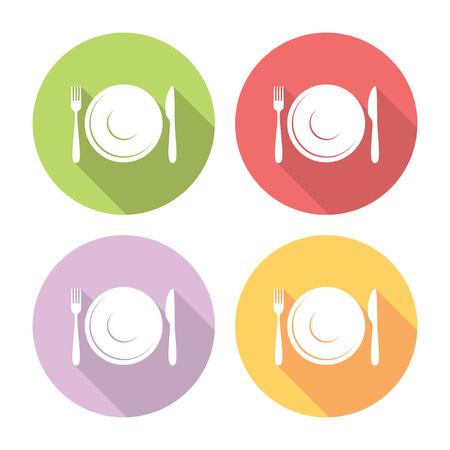 formal place setting: Plate And Cutlery Flat Style Design Icons Set