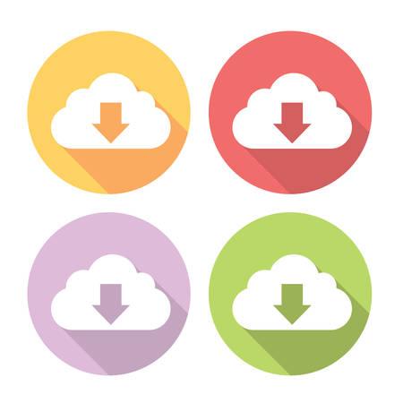 cloud service: Download Data Cloud Service Flat Style Design Icons Set