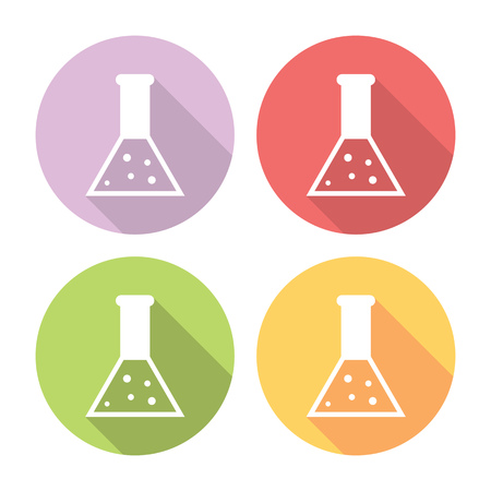 drug discovery: Science Laboratory Flask Flat Style Design Icons Set