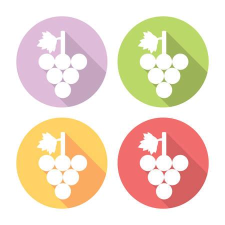 bunch: Grape Bunch Flat Style Design Icons Set Illustration