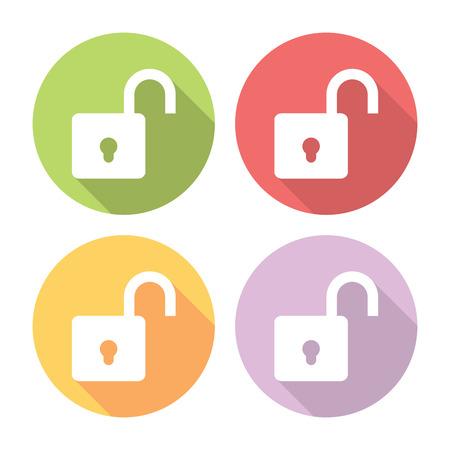 lock symbol: Open Lock Protection Symbol Flat Style Design Icons Set