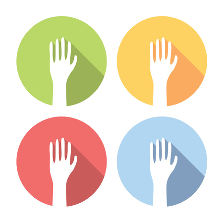 voting hands: Voting Hands Flat Style Design Icons Set