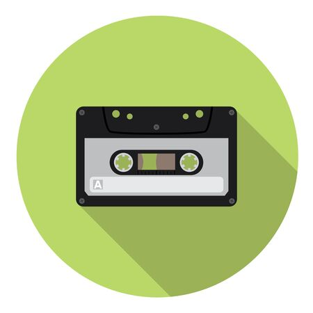cassette tape: Audio Cassette Flat Style Design Icon