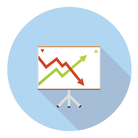 stock chart: Stock Chart Board Flat Style Design Icon
