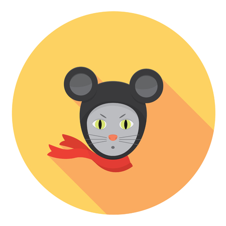 Mouse Super Hero Flat Style Design Icon