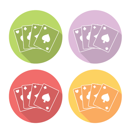 cards deck: Casino Playing Cards Deck Flat Style Design Icons Set