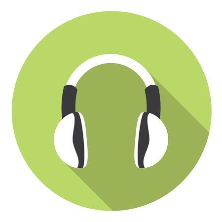 portable: Headphones Portable Gadget Flat Style Design Icon Illustration