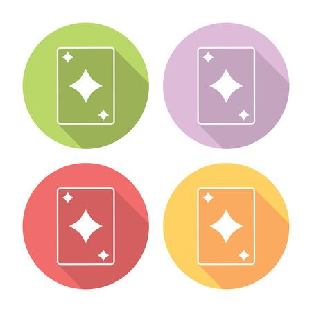 ace of diamonds: Playing Card Diamonds Suit Flat Style Design Icons Set