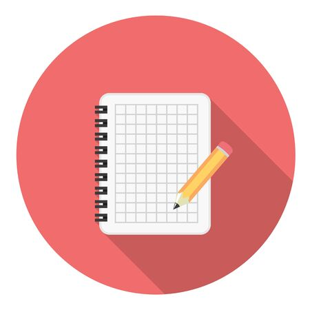 Notebook And Pencil Flat Style Design Icon