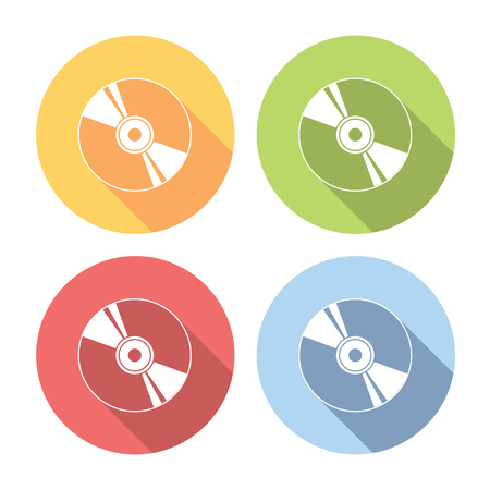 compact disk: Compact Disk Flat Style Design Icons Set