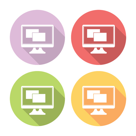 icons site search: Computer Monitor With Application Flat Style Design Icons Set