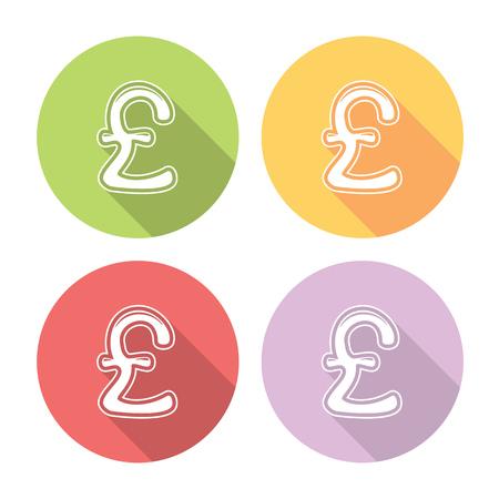 britain: Great Britain Pound Flat Style Design Icons Set