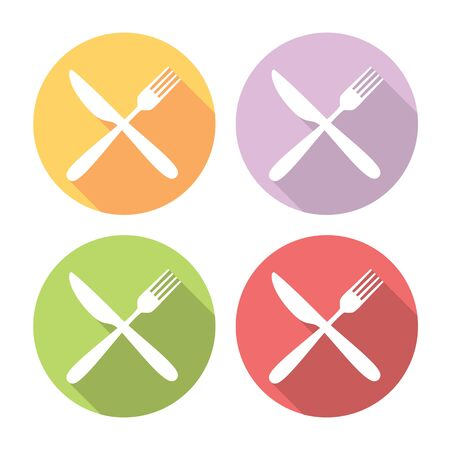 formal place setting: Fork And Knife Crossed Flat Style Design Icons Set