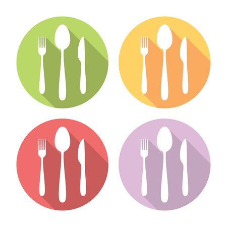 silverware: Kitchen Silverware Flat Style Design Icons Set