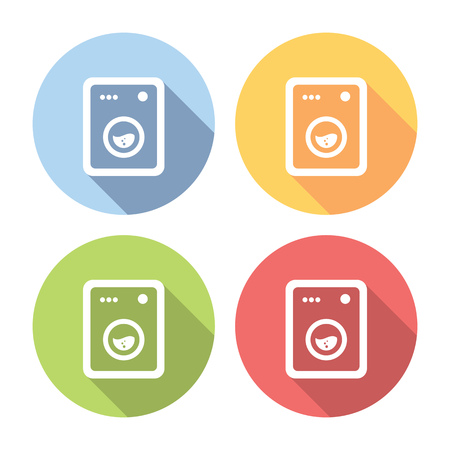 washhouse: Washing Machine Flat Style Design Icons Set Illustration