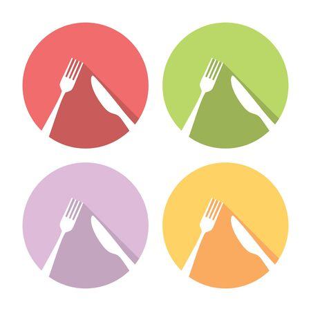 formal place setting: Fork And Knife Cutlery Flat Style Design Icons Set
