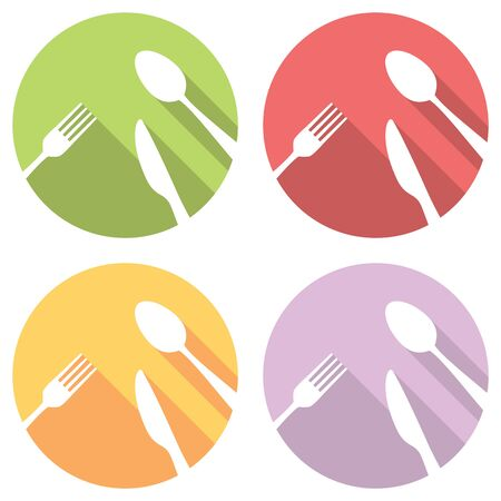 fork and spoon: Fork Spoon And Knife Flat Style Design Icons Set Illustration