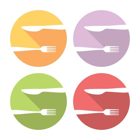 formal place setting: Fork And Knife Flat Style Design Icons Set