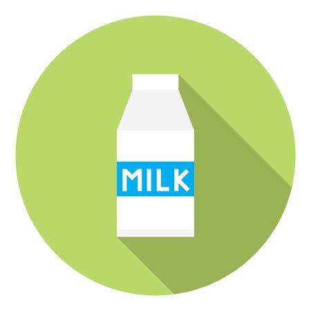 caja de leche: Cartón de la leche del paquete plano del diseño del estilo del icono