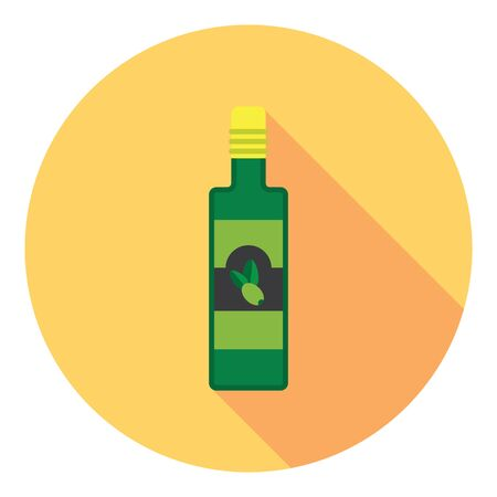 vegetable fat: Olive Oil Bottle Flat Style Design Icon