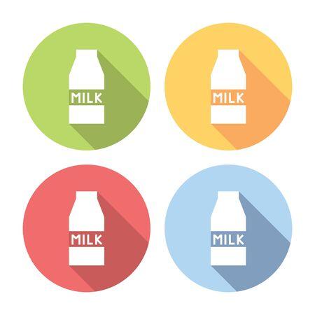 carton de leche: Cart�n de la leche de caja plana y set de iconos de estilo de dise�o Vectores