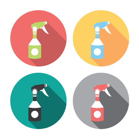 disinfectant: Home Cleaning Sprayer Flat Style Design Icons Set