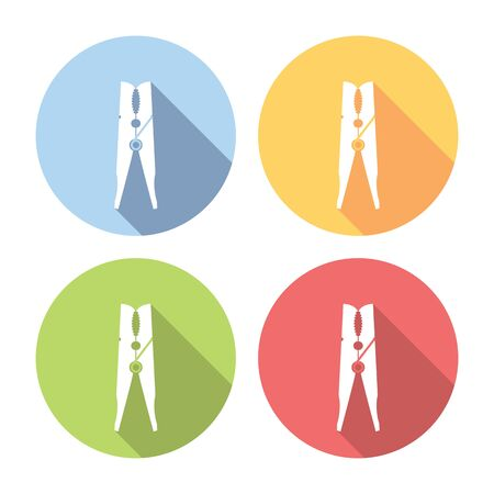 clothespin: Clothespin Laundry Tool Flat Style Design Icons Set