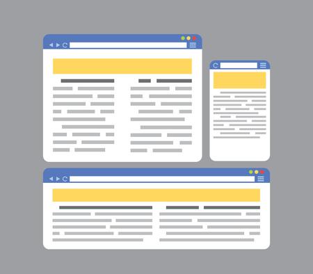 internet browser: Internet Browser Page Templates Set Flat Style Design
