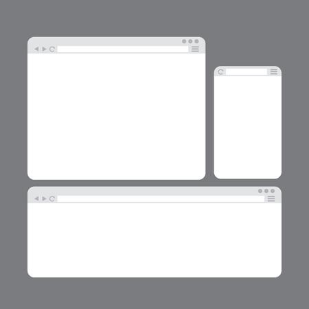 internet browser: Internet Browser Window Templates Set Flat Style Design