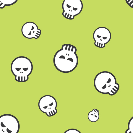 dire: Seamless Human Skull Halloween Holiday Pattern Background