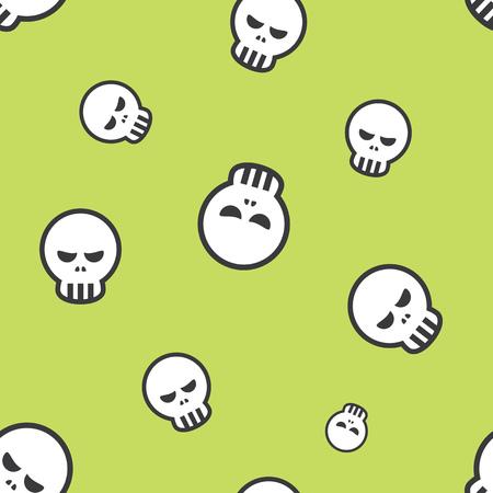 Seamless Human Skull Halloween Holiday Pattern Background