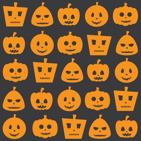 Seamless Halloween Holiday Scary Pumpkin Pattern Background Illustration