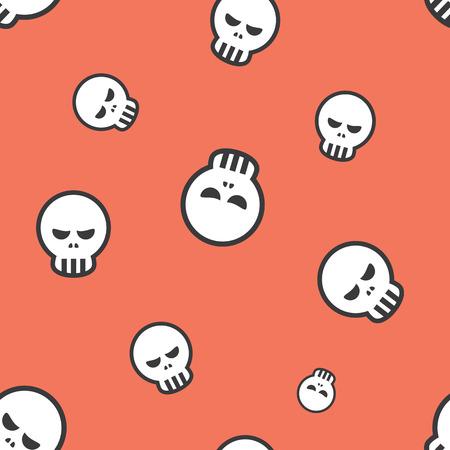 frightful: Seamless Angry Skull Halloween Celebration Pattern Background