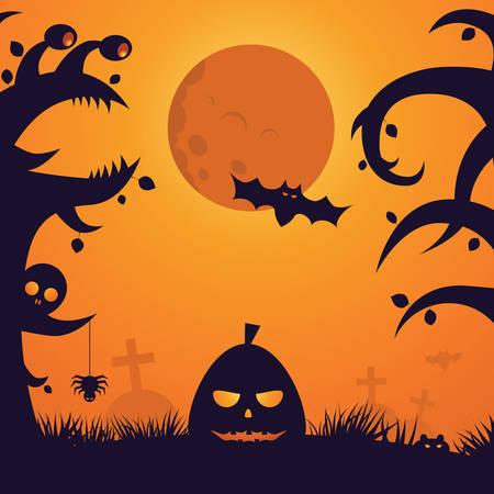 frightful: Halloween Night Celebration Scary Moon Silhouette Background
