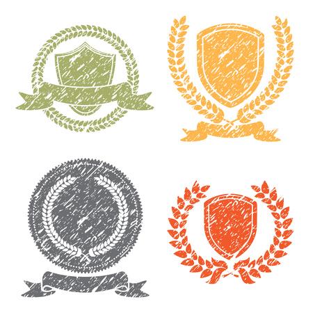 laurel leaf: Laurel Leaf Wreath And Shields Grunge Stamps Set