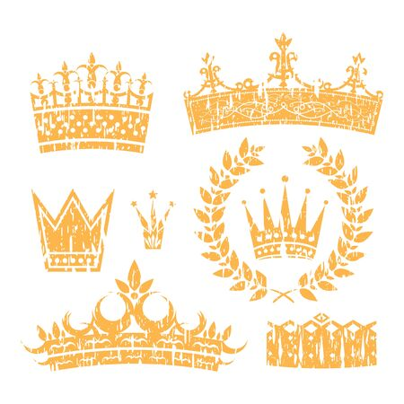 aristocracy: Royal Crowns And Laurel Leaf Wreath Grunge Set