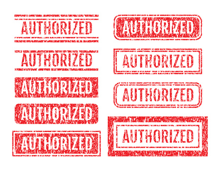 Authorized Word Rubber Stamps Grunge Style With Dust Scratches Set