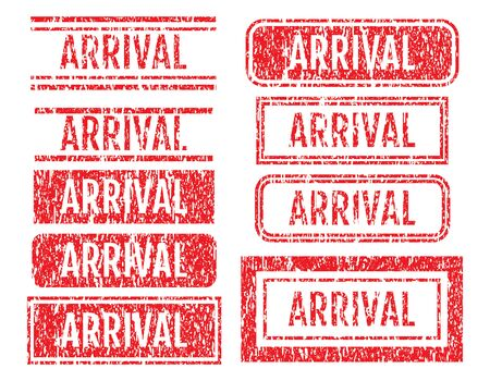 Arrival Rubber Stamps Grunge Style With Dust Scratches Set 向量圖像