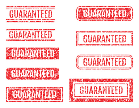 Guaranteed Word Rubber Stamps Grunge Style With Dust Scratches Set
